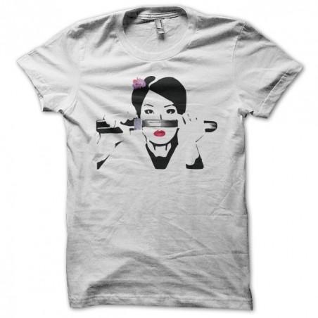 Lucy Liu portrait Kill Bill white sublimation tee shirt