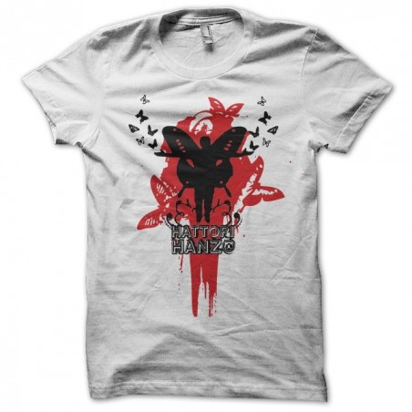 T-shirt Butterflies and blood Hattori Hanzo katana white sublimation