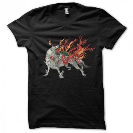 Okami black sublimation wolf t-shirt