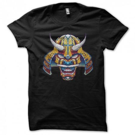 Japanese samurai mask black sublimation t-shirt