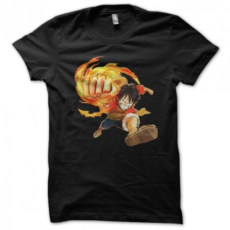 One piece t-shirt luffy point of fire black sublimation