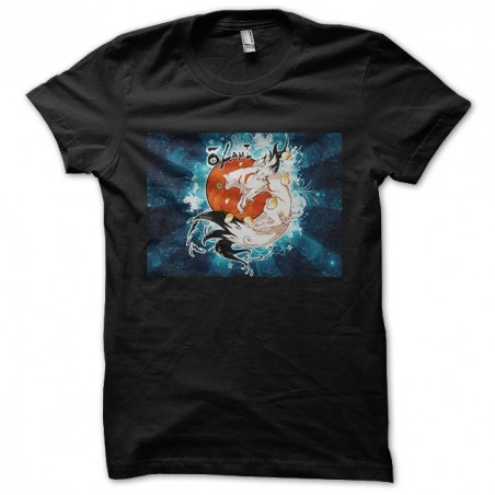 Okami t-shirt in the black galaxy sublimation