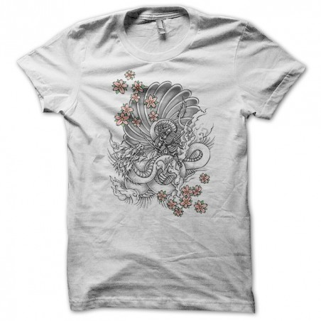 Samurai tattoo T-shirt against Dragon with flowers white sublimation