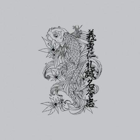 Japanese monochrome fish tattoo t-shirt and gray ideograms sublimation