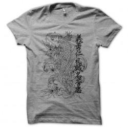 Tee shirt tatouage poisson japonais monochrome et ideogrammes gris sublimation