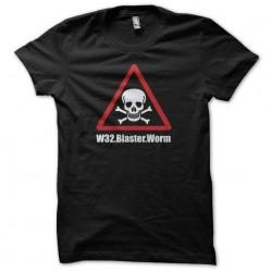 W32 Blaster Worm black sublimation death warning t-shirt