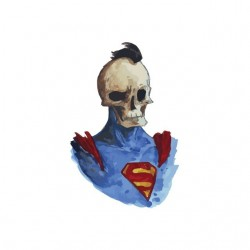 Punk skeleton t-shirt in Superman white sublimation