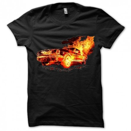 Mustang t-shirt in black sublimation fire