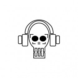 Dj techno skull white...