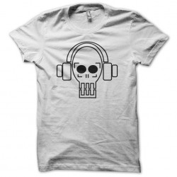 Dj techno skull white sublimation t-shirt