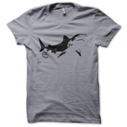 Tee shirt requin SHARK974  sur gris sublimation