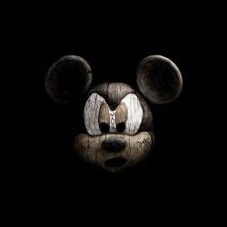T-shirt Mickey parody sculpture wood worn black sublimation