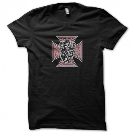 Black T-shirt with logo Sons Of Anarchy Maltese cross in black sublimation