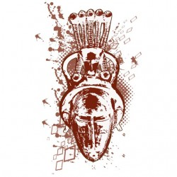 African mask t-shirt white...