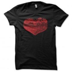 Cracked heart black sublimation t-shirt