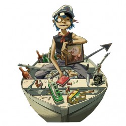2D t-shirt gorillaz on boat...