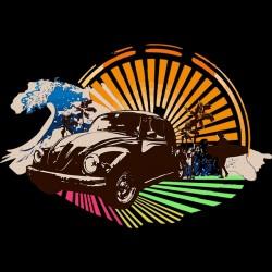 Vintage volkswagen beetle holiday black sublimation t-shirt