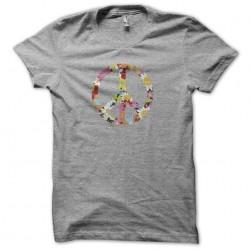 Tee shirt Peace and love en fleurs gris sublimation