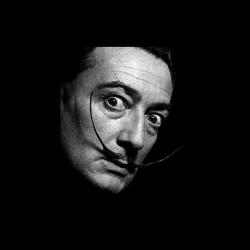 Salvador Dali portrait black sublimation t-shirt