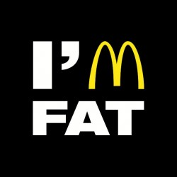 Tee Shirt Mac Donald's parody I'm fat black sublimation