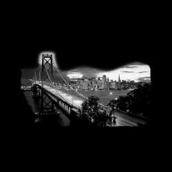 San Francisco black sublimation night photo t-shirt