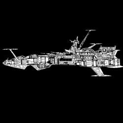 t-shirt Albator plan ship Atlantis black sublimation