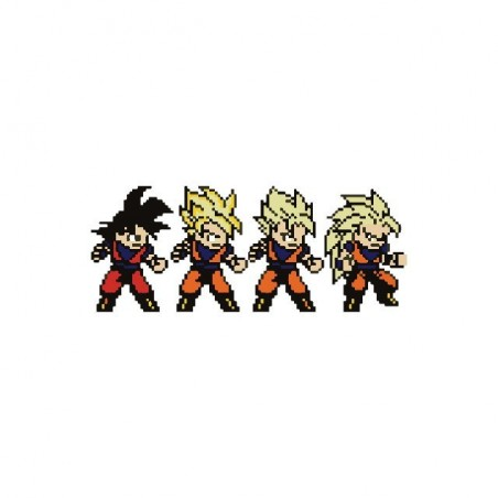 Son Goku evolution pixel art white sublimation t-shirt