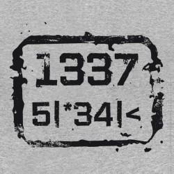 Tee shirt 1337 5 34  Leet speak langage de geek gris sublimation
