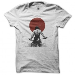 Samurai t-shirt and red sun in white sublimation