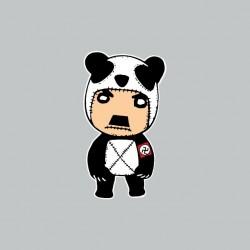 Hitler panda cartoon gray...