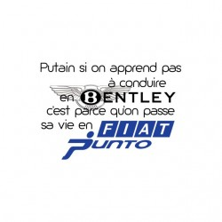 T-shirt Not in Bentley life Fiat Punto white sublimation