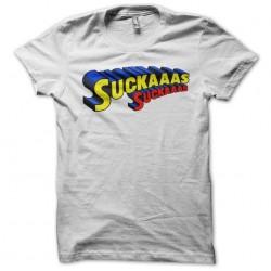 Tee Shirt suckass parody superman white sublimation