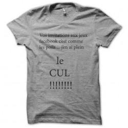 Tee shirt gris invitations facebook ras le bol sublimation