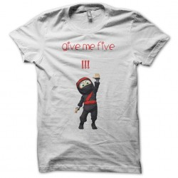 White clumsy the ninja give me five white sublimation t-shirt