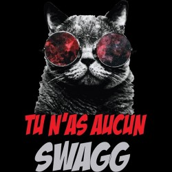 Cat t-shirt that has more swagg than you in black sublimation