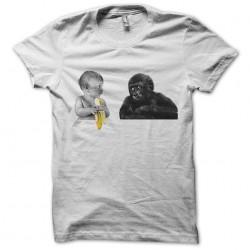 t-shirt baby banana monkey in white sublimation