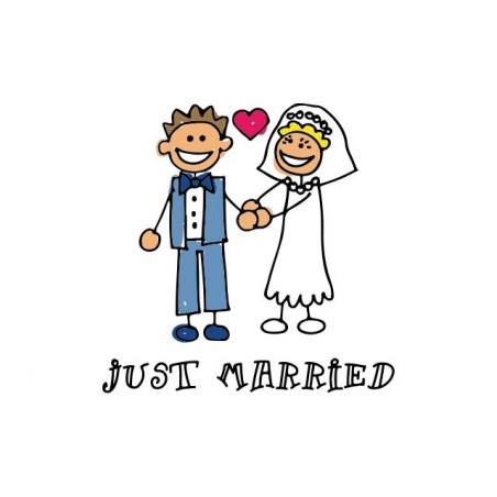 Just married kid cartoon white sublimation t-shirt