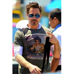 bruce lee t-shirt with turntables Downey Jr gray sublimation
