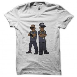 tee shirt Jay and Kanye west in simpsons white sublimation