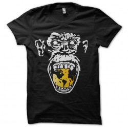 yellow angry monkey t-shirt on black sublimation