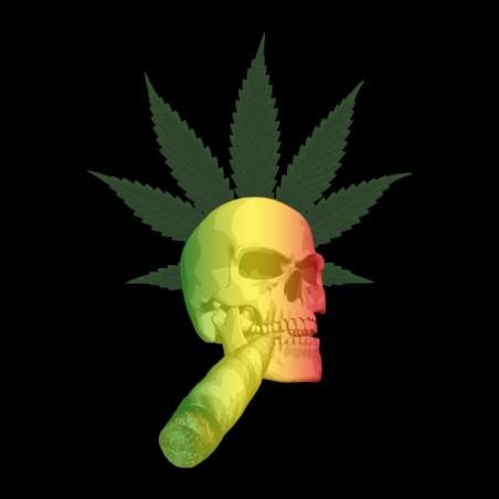 Tshirt ganja skull smoking weed black sublimation