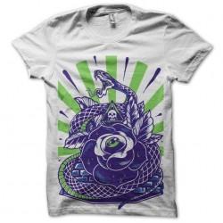t-shirt snake n rose white...