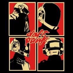 tee shirt daft punk logo pop art in black sublimation