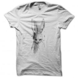 Sad white sublimation bunny tee shirt