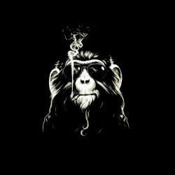 monkey t-shirt that smokes black sublimation