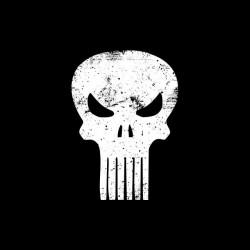 Punisher vintage grungy white black sublimation t-shirt