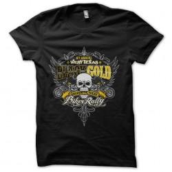 t-shirt black gold biker...