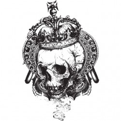 Skull with Crown white...
