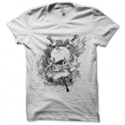 tee shirt skull and sword white sublimation