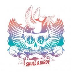 shirt skull & bird white...